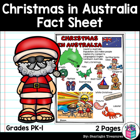 Christmas in Australia Fact Sheet for Early Readers