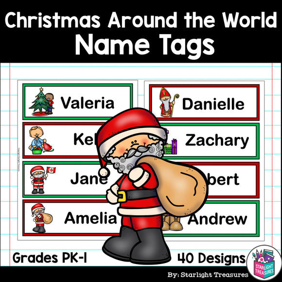 Christmas Around the World Name Tags - Editable