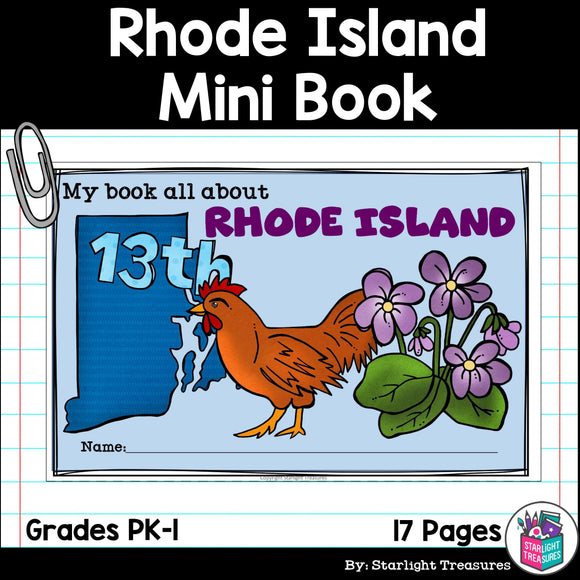 Rhode Island Mini Book for Early Readers - A State Study