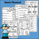 WR, KN, GN Worksheets and Activities for Early Readers