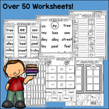 Vowel Pairs EE, EY Worksheets and Activities for Early Readers