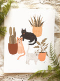 Cat Fancy & Plant Babies Art Print
