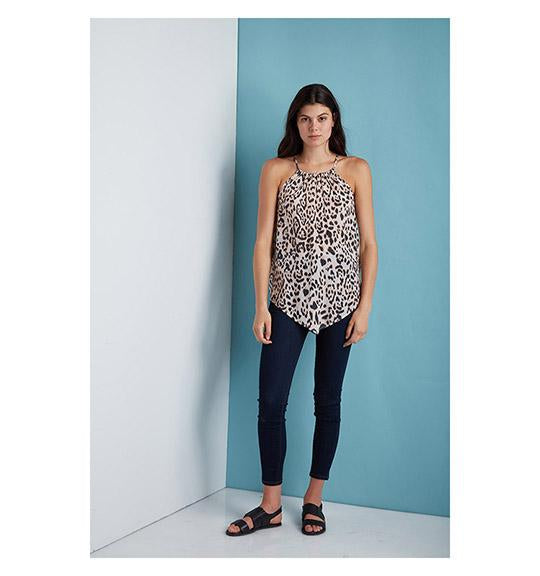 Dora Landa Leopard Printed Sleeveless Asa Top