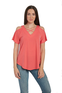 Knit Short Sleeve Cold Shoulder Cross Over Scissor Top