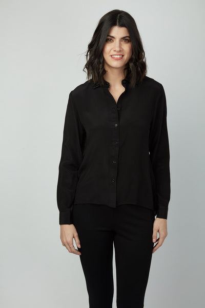 Flock Patterned Vegan Leather Collar Arielle Shirt