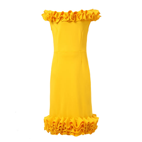 Dora Landa Alora Dress with Dimensial Ruffle Accent