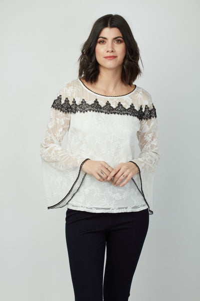 Dora Landa Embroidered Chiffon Bell Sleeve Aubrey Top