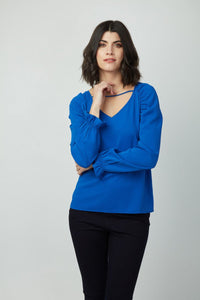 V Neck Back Tie Dion Top