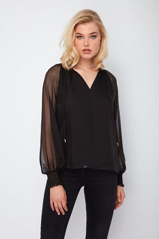 Dora Landa Sheer Sleeve Drawstring Neck Basie Top