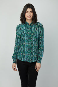 Button Front Shirt Collar Silk Crepe De Chine Elsa Top
