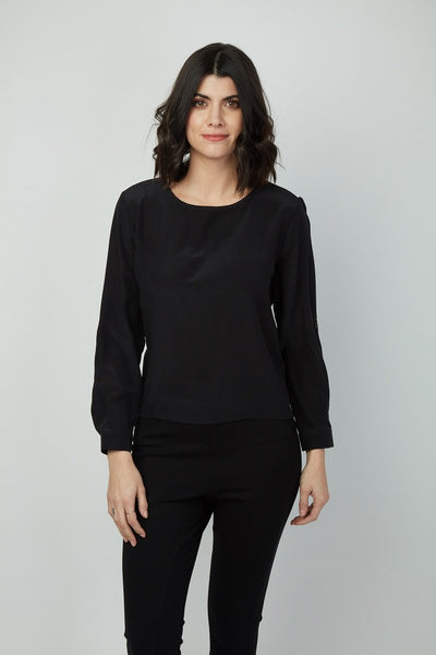 Roll Tab Sleeve with Vegan Leather Trim Allison Top