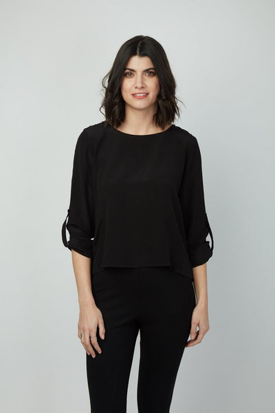 Roll Tab Sleeve with Swiss Dot Chiffon Trim Allison Top