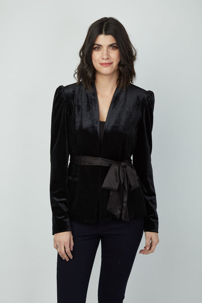 Dora Landa Velvet Benny Jacket with Satin Belt
