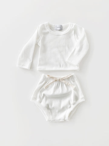 Baby White Cotton Rib Set