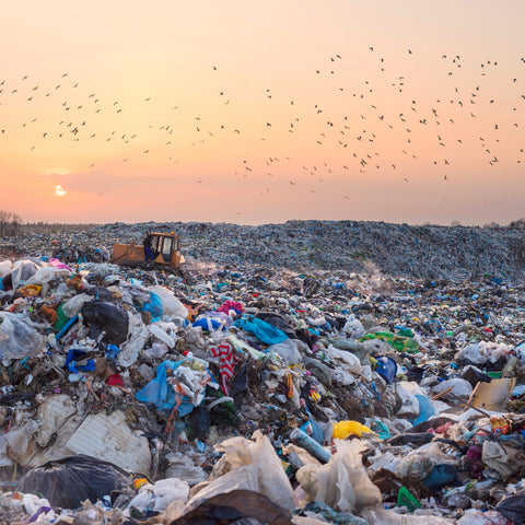Landfill full of plastic