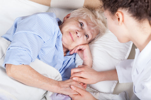 Elderly Lady Smiling At Her Carer