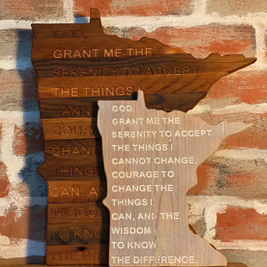 State of Minnesota with Etched Serenity Prayer on Salvaged Rustic Barn Wood