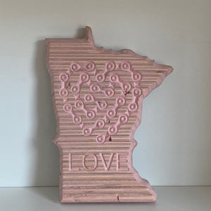 Pink Bike Love - Cycling Chain Heart + LOVE Etched on The State of Minnesota