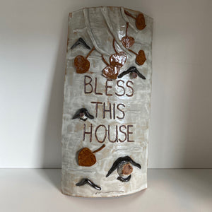 'Bless This House' Birch Pottery Wall Decoration