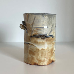 Birch pottery candle holder - 5in. Tall