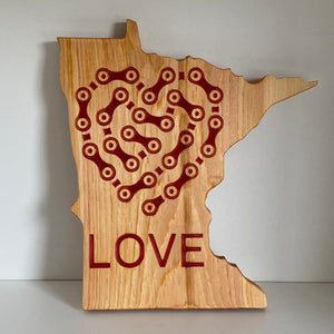 Red Epoxy-Filled Bike Love - Cycling Chain Heart + LOVE Etched on The State of Minnesota