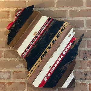 "Custom State of Wisconsin Hockey with Salvaged Hockey Sticks and Rustic Barn Wood - 23"" x 26"""