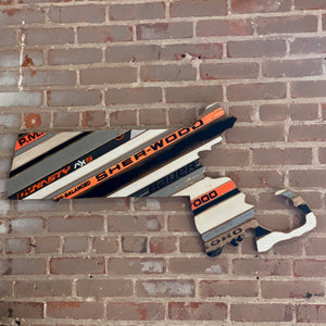 "Custom State of Massachusetts Hockey with Salvaged Hockey Sticks and Rustic Barn Wood - 20"" x 41"""