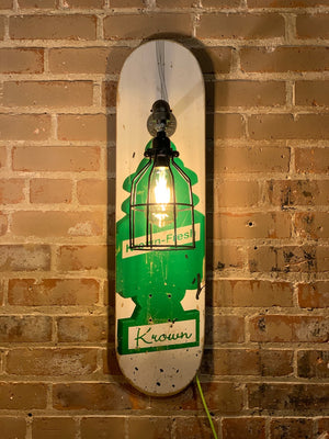 Repurposed White and Green Skateboard Light