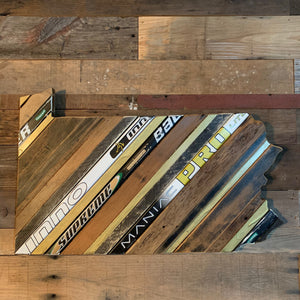 "Custom State of Pennsylvania Hockey with Salvaged Hockey Sticks and Rustic Barn Wood - 13"" x 31"""
