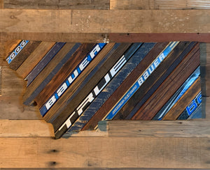 "Custom State of Montana Hockey with Salvaged Hockey Sticks and Rustic Barn Wood - 18"" x 26"""