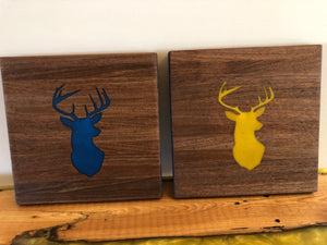 "Walnut Cutting Board 12""x12"" with Deer Head Silhouette Epoxy Inlay"
