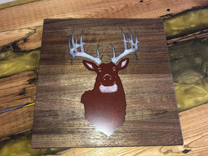 "Walnut Cutting Board 12""x12"" with Deer Head Epoxy Inlay"