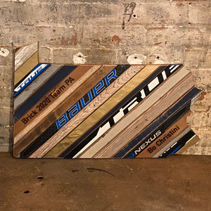Custom State of Pennsylvania Hockey with Salvaged Hockey Sticks and Rustic Barn Wood