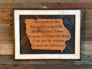 Custom Serenity Prayer Etched State of Iowa with Salvaged Rustic Barn Wood