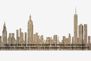 New York City Skyline with Serenity Prayer Etched Salvaged Rustic Barn Wood