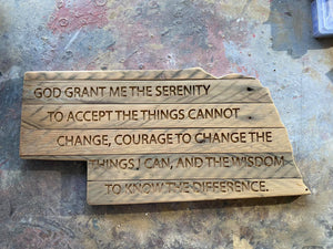 "Serenity Prayer Laser Etched State of Nebraska with Salvaged Rustic Barn Wood - 10"" x 18"""