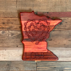 "Bike Love - Cycling Chain Heart + LOVE Etched on The State of Minnesota - 12"" x 11"""