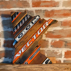 Custom State of Hockey with Salvaged Hockey Sticks and Barn Wood