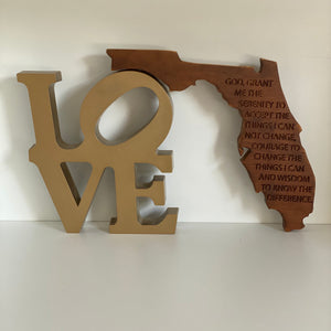 State of Florida with Etched Serenity Prayer on Salvaged Rustic Barn Wood - Custom & Personalized Options Available