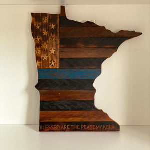 Blue Line Flag Etched on The State of Minnesota