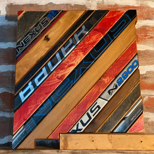 Custom State of New Mexico Hockey with Salvaged Hockey Sticks, Rustic Distressed Barn Wood, Custom Team Colors and Size Options