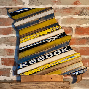Custom State of Missouri Hockey with Salvaged Hockey Sticks, Rustic Distressed Barn Wood, Custom Team Colors and Size Options