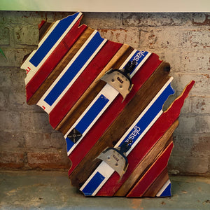 Custom State of Wisconsin Skiing or Snowboarding with Salvaged Skis and Rustic Barn Wood