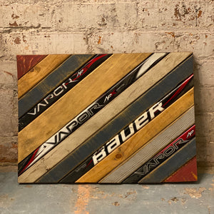 State of Colorado Hockey with Salvaged Hockey Sticks and Rustic Barn Wood