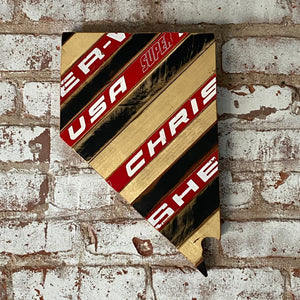 Custom State of Nevada Hockey with Salvaged Hockey Sticks and Rustic Barn Wood