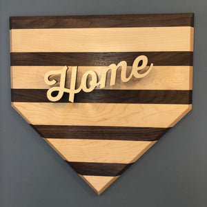 "Beautiful Wood Baseball Home Plate with ""H-O-M-E"""