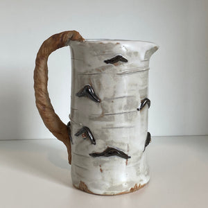 Birch pottery pitcher