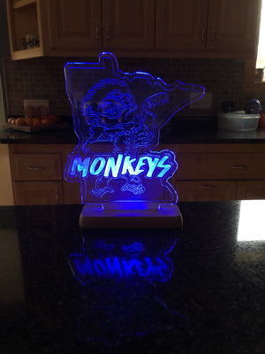 Custom Acrylic LED with Etched MN Monkey Team Logo