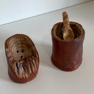 Cedar pottery salt and pepper shakers
