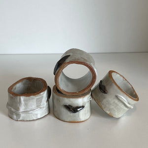 Set of (4) birch potter napkin rings